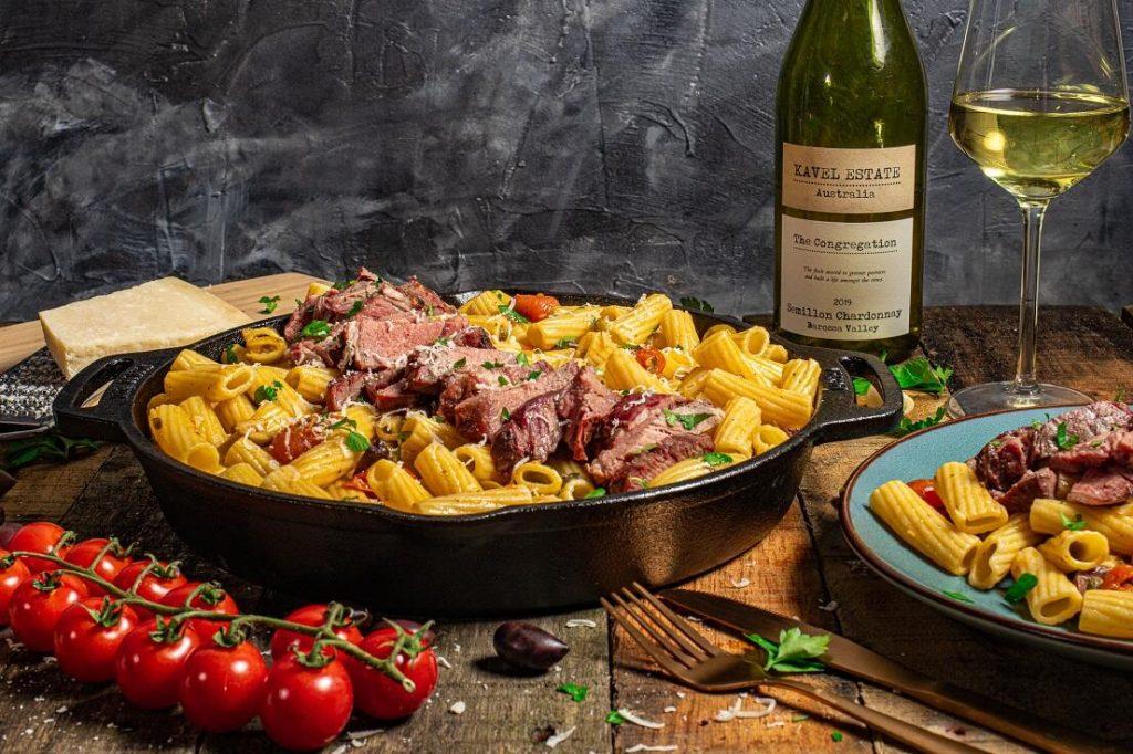 steak pasta klaar
