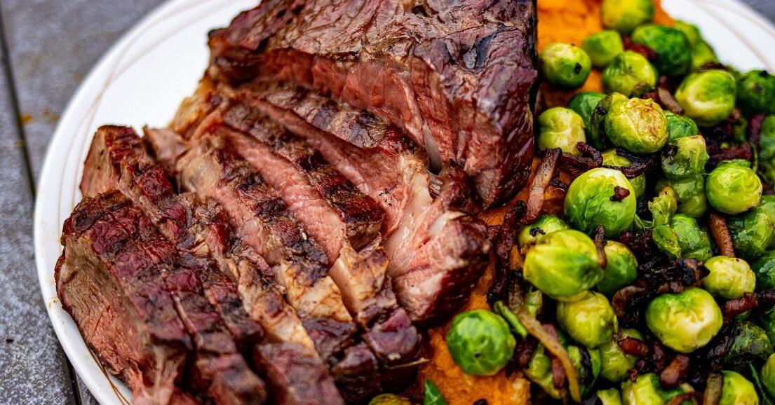 tomahawk steak met spruitjes